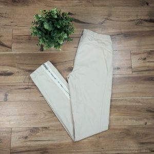 BCBGMaxAzria Myles The Skinny Zipper Pant Almond S